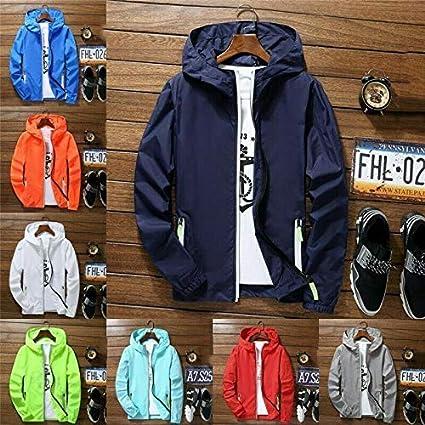 Qlaba Men Waterproof Wind Breaker Coat Zipper Hoodie Jacket Quick Drying Sport Outwear