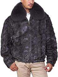 43c40513dd52 Christian Mosaic Mink Bomber Jacket for Men in Dark Grey