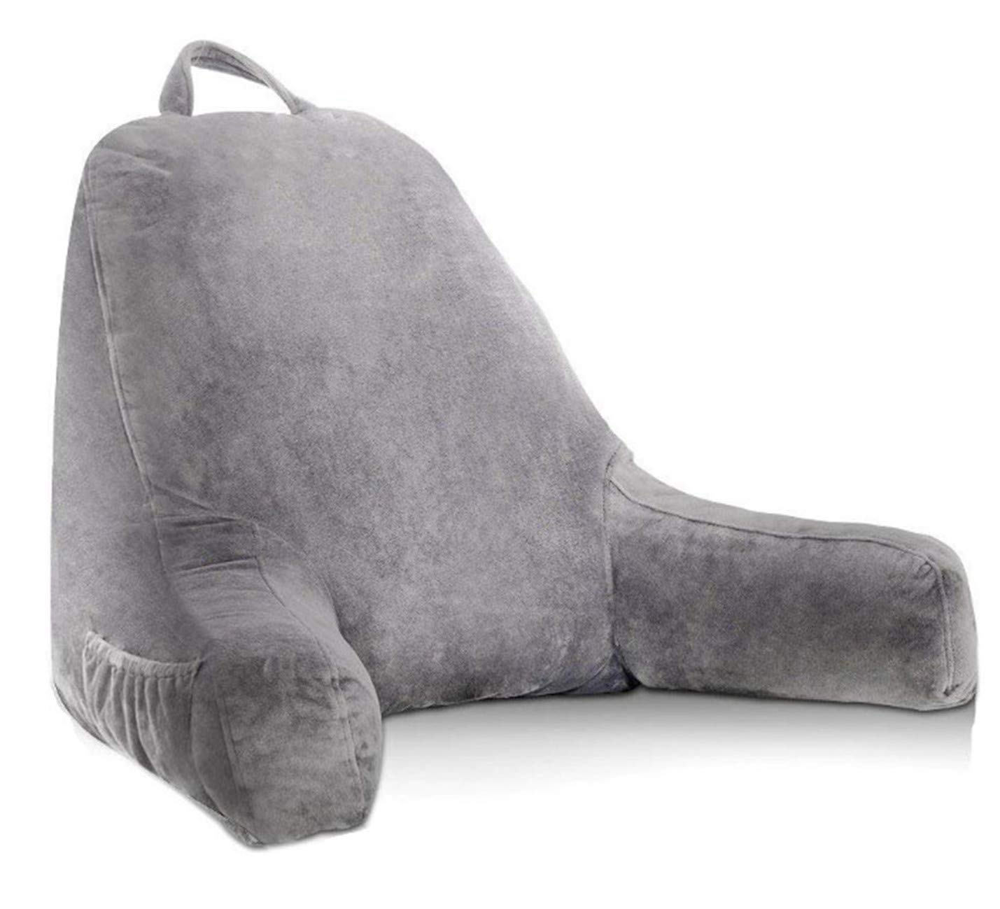 HZDY Large backrest Pillow Reading and TV Pillow, Detachable Neck Pillow, Removable and Washable Coat Gray, Advanced Memory Foam Blend Fill, Pregnant Women Cushions (Grey, Standard Grey)