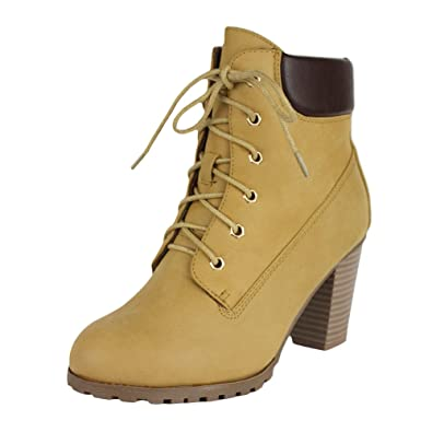 Womens Rugged Lace Up Stacked High Heel Ankle Boots