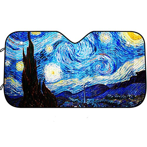 DPIST Van Gogh Starry Sky Car windshield sun shade Universal Fit Car sunshade-Keep Your Vehicle Cool. UV Sun and Heat Reflector (Blue Of Shdes)