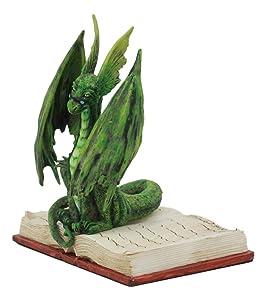 "Ebros Amy Brown Bibliography Book Scholar Dragon Statue 5.5"" Tall Fantasy Medieval Renaissance Magic Watercolor Collectible Decor Figurine (Green Rune Dragon)"