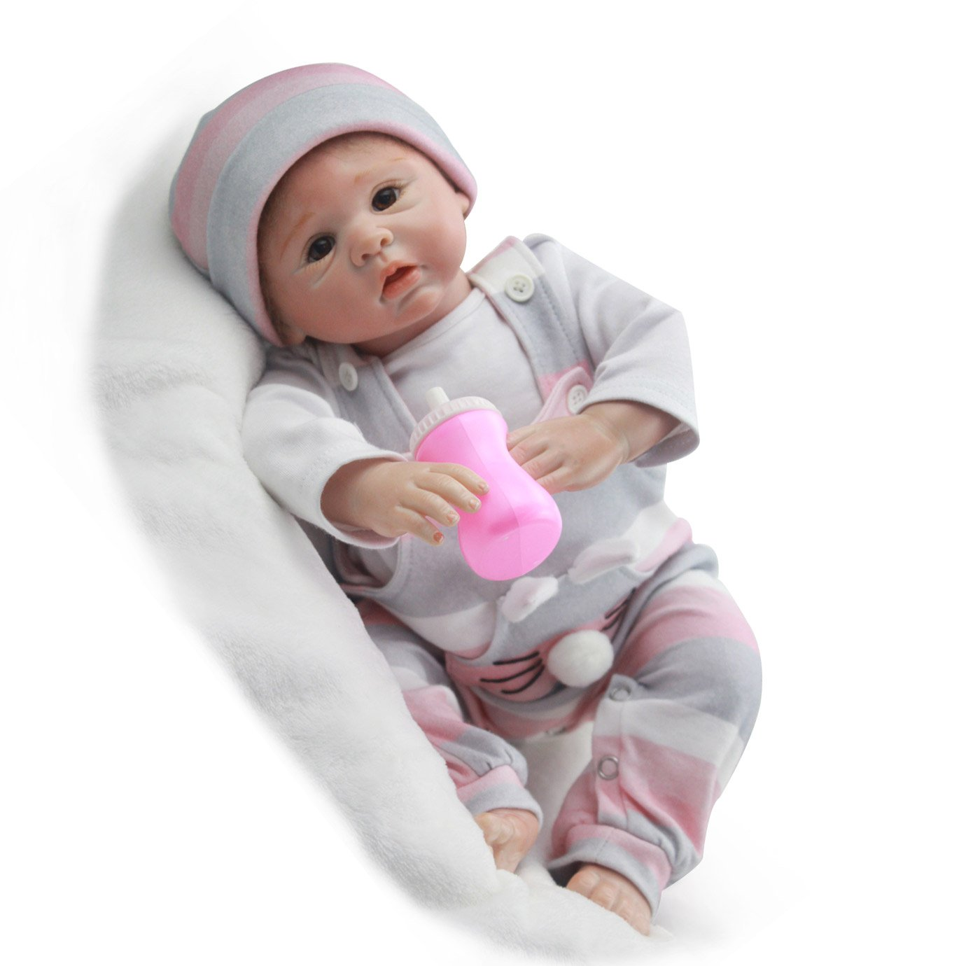 Pursue Baby Soft Vinyl Cloth Body Reborn Baby Doll, Big Nose Little Rabbit, 18 Inch Lifelike Poseable Newborn Baby Doll Weighted for Realism