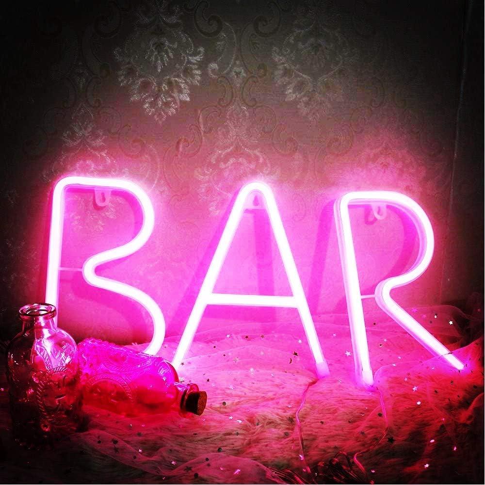 Neon Sign Light LED Wall Light Visual Bar Lamp Home Room Xmas Halloween Decor gY