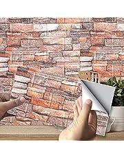10 stks 3D zelfklevend behang, imitatie baksteen muurstickers stok wandpanelen DIY waterdichte schuimdecoratie wandtegel voor woonkamer keuken thuis, 38 x 35 cm
