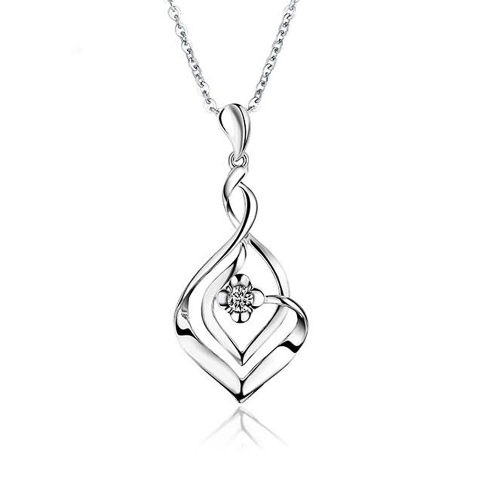 Adisaer 18k(750) White Gold Women Necklace 1.12g Flower Infinity Pendant Round Diamond Wedding Necklace