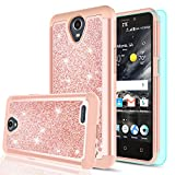 zte prelude 2 cell phone - ZTE Prestige 2 / Maven 3 / Prelude Plus / Overture 3 Case with HD Screen Protector for Girls Women,LeYi Glitter [PC Silicone Leather] Dual Layer Protective Phone Case for ZTE N9136 TP - Rose Gold