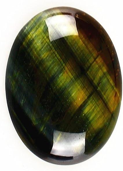 Green Tiger Eye 40x30mm Oval Cabochon CAB Flatback Semi-Precious Gemstone Ring Face