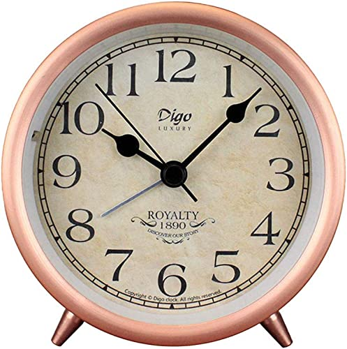 4in Table Clock, Rose Gold Retro Classic Metal Non-Ticking Small Mini Table Alarm Clock Battery Operated Desk Clock with Backlight HD Glass, for Kids Decor Bedroom Arabic