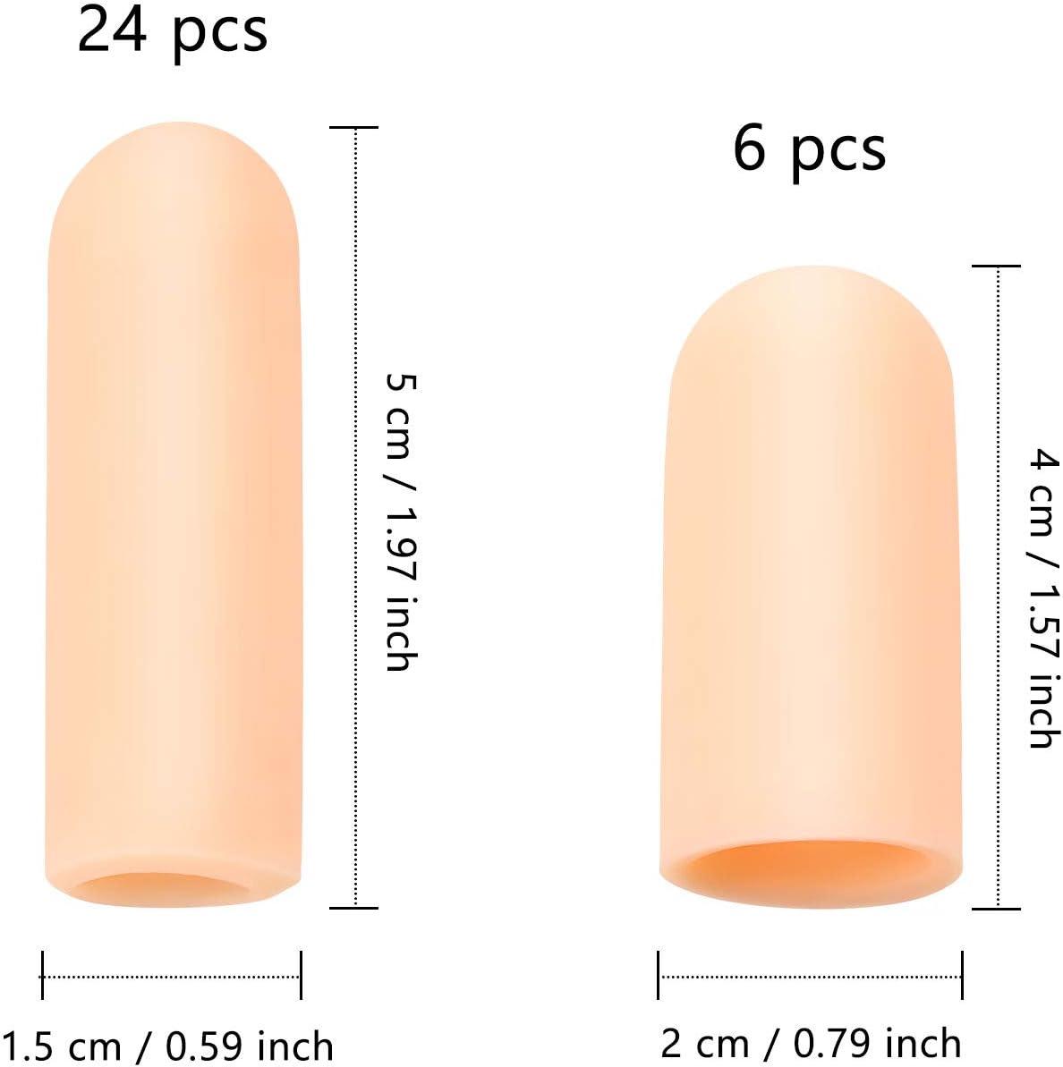 Finger Trigger 30 Pieces Gel Finger Protector Finger Cots Silicone Finger Cover Cap Gel Finger Sleeves Finger Support for Finger Cracking