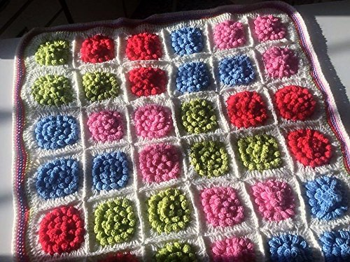 Amazon Baby Blanket Bobble Stitch Crochet 4 Colors White
