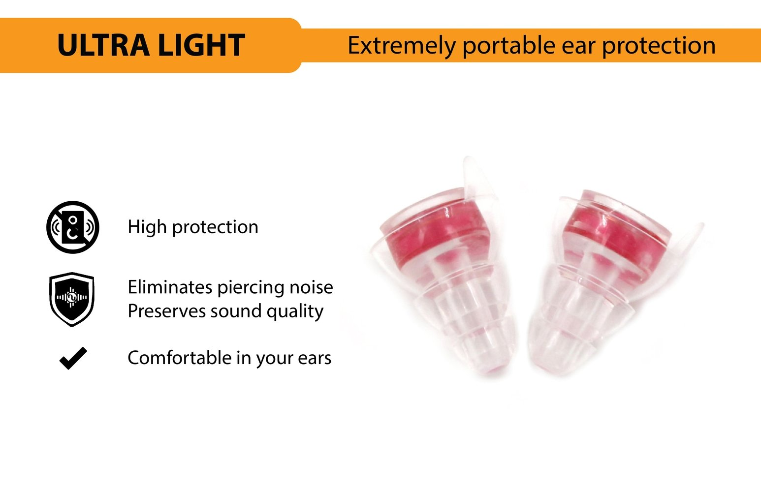 NU High Fidelity Ear Plugs for Musicians, Concerts, Motorcycles, Travel, Holiday and Live Events with Portable Aluminum Case (High Protection) by NU (Image #3)