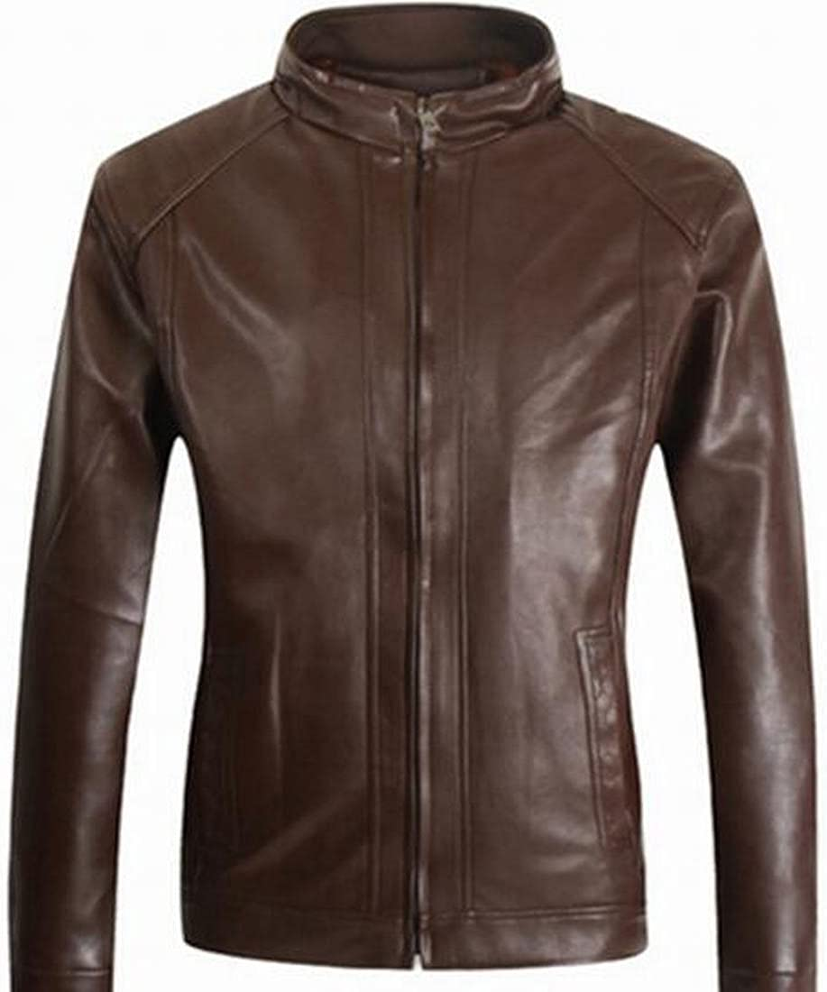 Ptyhk RG Mens Winter Warm Zipper Lapel Fur Lined with Faux Leather Jacket
