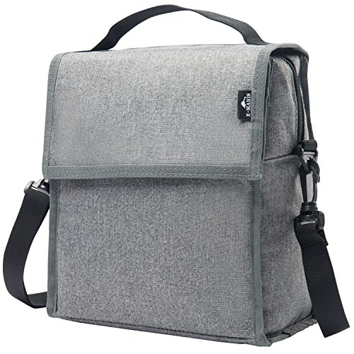 Multi Oxford - E-MANIS Insulated Lunch Bag Adult lunch box Collapsible Multi-Layers Thermal Insulated Oxford Lunch Tote cooler bag for men, women(Gray)