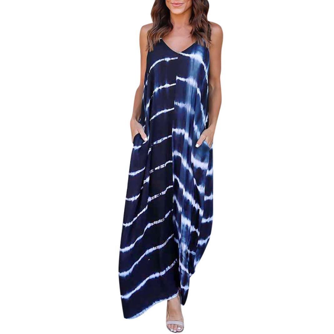 Spbamboo Women Stripe Wave Long Maxi Dress Deep V Low Cut Summer Beach Dress