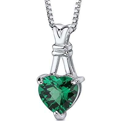 Amazon simulated emerald heart shape pendant necklace sterling simulated emerald heart shape pendant necklace sterling silver rhodium nickel finish aloadofball Gallery