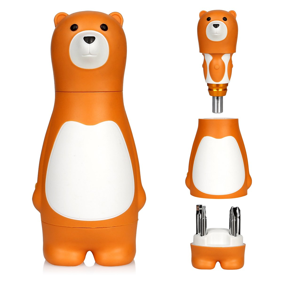 LEANINGTECH 6 Bits 6 in 1 Universal Screw Driver Cute Household Bear Ratcheting Screwdriver, S2 Alloy Steel Hand Tool for Repairing