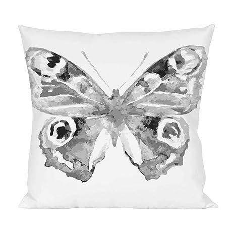 Blanco y Negro Cojín en forma de mariposa: Amazon.es: Hogar