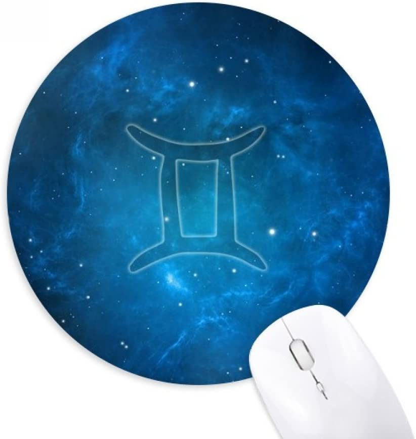 Starry Night Gemini Zodiac Constellation - Alfombrilla de ratón de goma, redonda, antideslizante, ideal para regalo