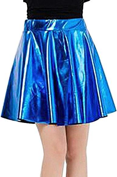 QinMMROPA Disfraz de Cuero Artificial para Mujer Falda Skater de ...