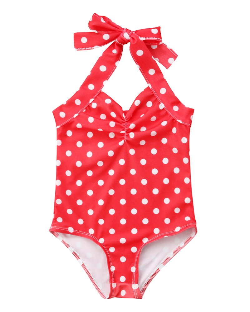 Calsunbaby Infant Baby Girl Straps Dot One Piece Romper Bikini Swimwear Beachwear