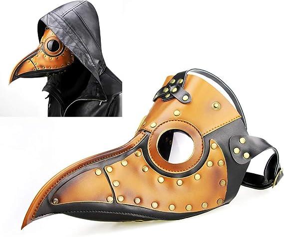 Kissybride Gothic Retro Plague Doctor Bird Mask Long Nose Beak Steampunk Props for Halloween Cosplay Costume Orange