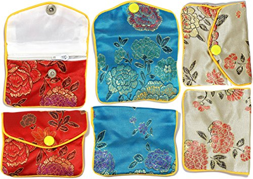 AnsonsImages 12pcs Chinese Silk Jewelry Pouches Mix Colors Red Turquoise Light Gold 3x2.5 Inches