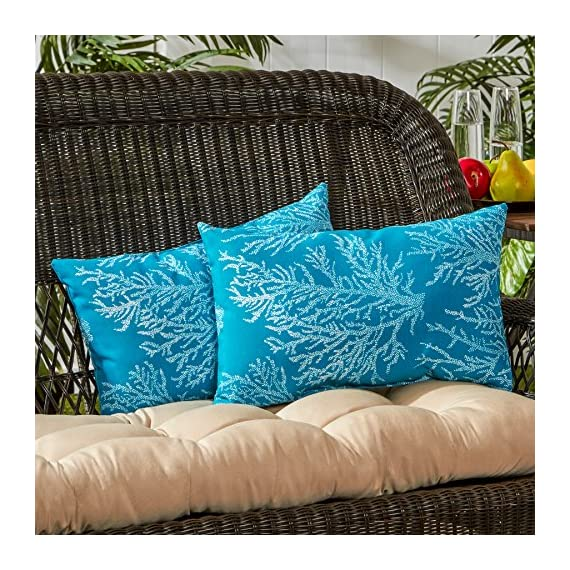 Greendale Home Fashions Rectangle Outdoor Accent Pillow (set of 2), Seacoral - Set includes two 19 x 12 inch accent pillows 100% polyester, UV-resistant outdoor fabric Poly fiber fill made from 100-percent recycled, post-consumer plastic bottle - patio, outdoor-throw-pillows, outdoor-decor - 61KyOLey8AL. SS570  -