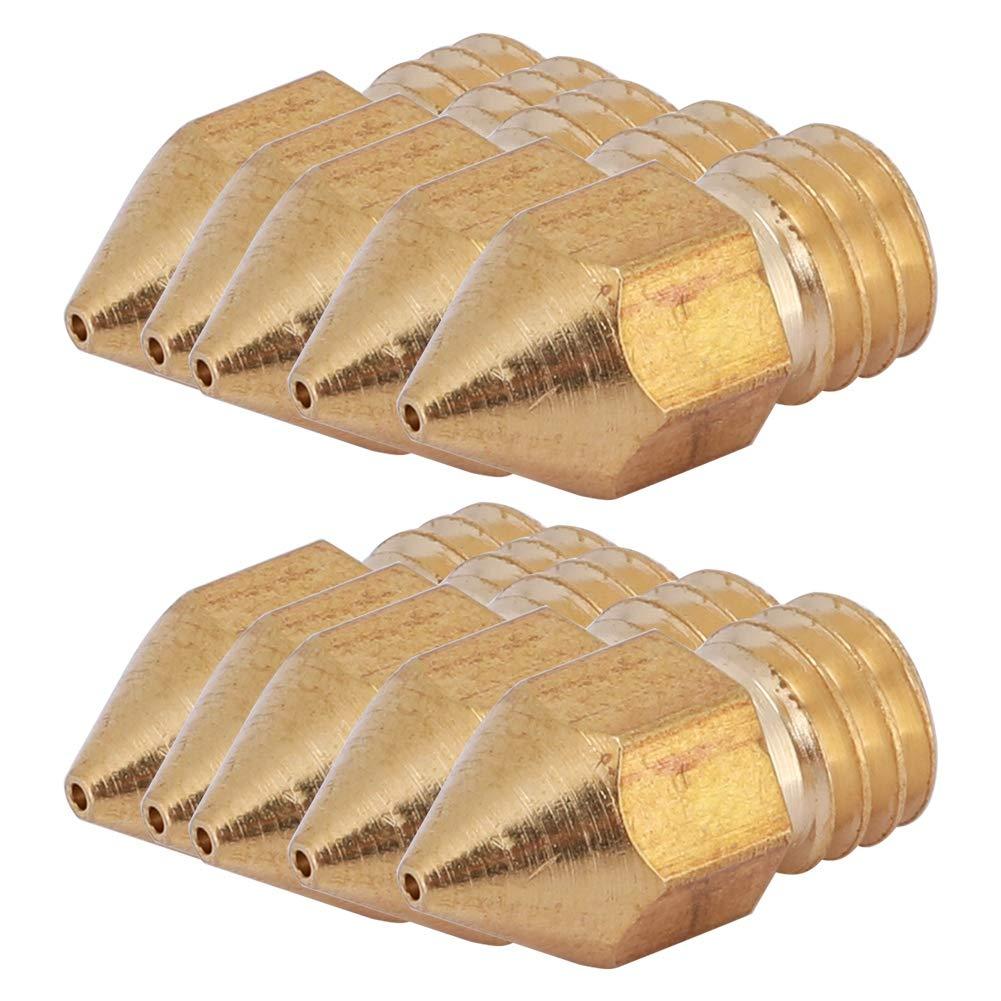ABS 3D PLA 1,75 0,6 mm Compatibile con Tutte Le stampanti 3D Wendry Ugello per Stampante 3D 10Pcs Ugello per estrusore MK8 per Stampante 3D Ugello per estrusore Ottone 1,75 mm
