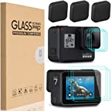 [9 in 1] HEYUS Premium 9H Hardness Ultra-Clear Tempered Glass Screen Protector Front + Back Glass Lens Protector Film + Lens Cover Cap for Go Pro GoPro Hero7 Black HD (2018)/6/5 Hero6 Hero5