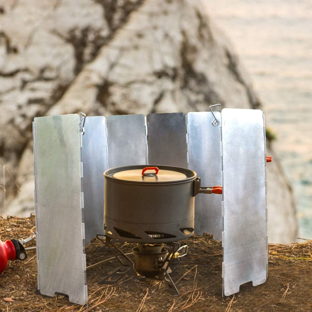 GEERTOP Camp Stove Windshield Aluminum 10 Plates Folding Outdoor Picnic Cooker Stove Windscreen for Camping Backpacking Butane Burner Stoves