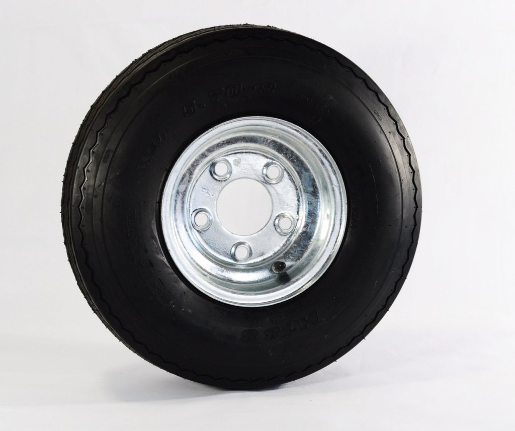 eCustomRim 04C Trailer Tire + Rim 5.70-8 570-8 5.70X8 8'' Heavy Duty Load Range C Tire 5 Lug Hole Bolt Wheel Galvanized