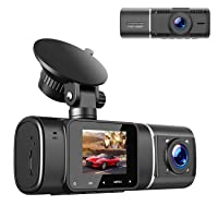TOGUARD Dual Dash Cam with IR Night Vision, FHD 1080P Front and 720P Inside Cabin Dash Camera 1.5 inch LCD Screen 310° Wide Angle Dual Lens Car Driving Recorder for Uber Cars Truck Taxi