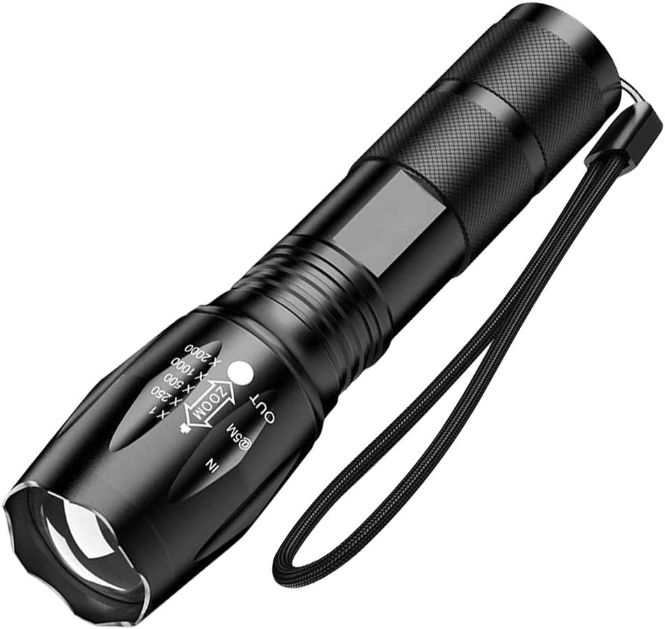 Ultra-Bright Flashlights, 2000 Lumens XML-T6 LED Tactical Flashlight, Zoomable Adjustable Focus, IP65 Water-Resistant, Portable, 5 Light Modes for Indoor and Outdoor,Camping,Emergency,Hiking (1 Pack)
