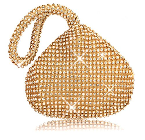 Bonaweite Rhinestone Soft Evening Handbag Crystal Purse with Handle Clutch Gold