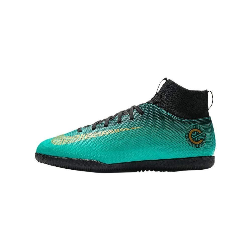 Nike Jr Superflyx 6 Club Cr7 Ic - clear jade mtlc vivid gold-bla - Fussball-Indoor-Schuhe (IN)-Kinder, Größe 3.5Y