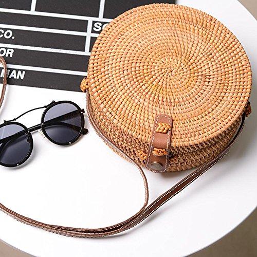 Vintage Rotonda Donna Rattan Pl Borsa Il A Spalla Rotonde Rattan Strisce Disegno Tracolla Domestico Stile Per Tessuto Immagazzinaggio Viaggio CCgBO