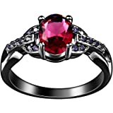 Xiang Ru Round Red Zirconia Ring Black Band Alloy