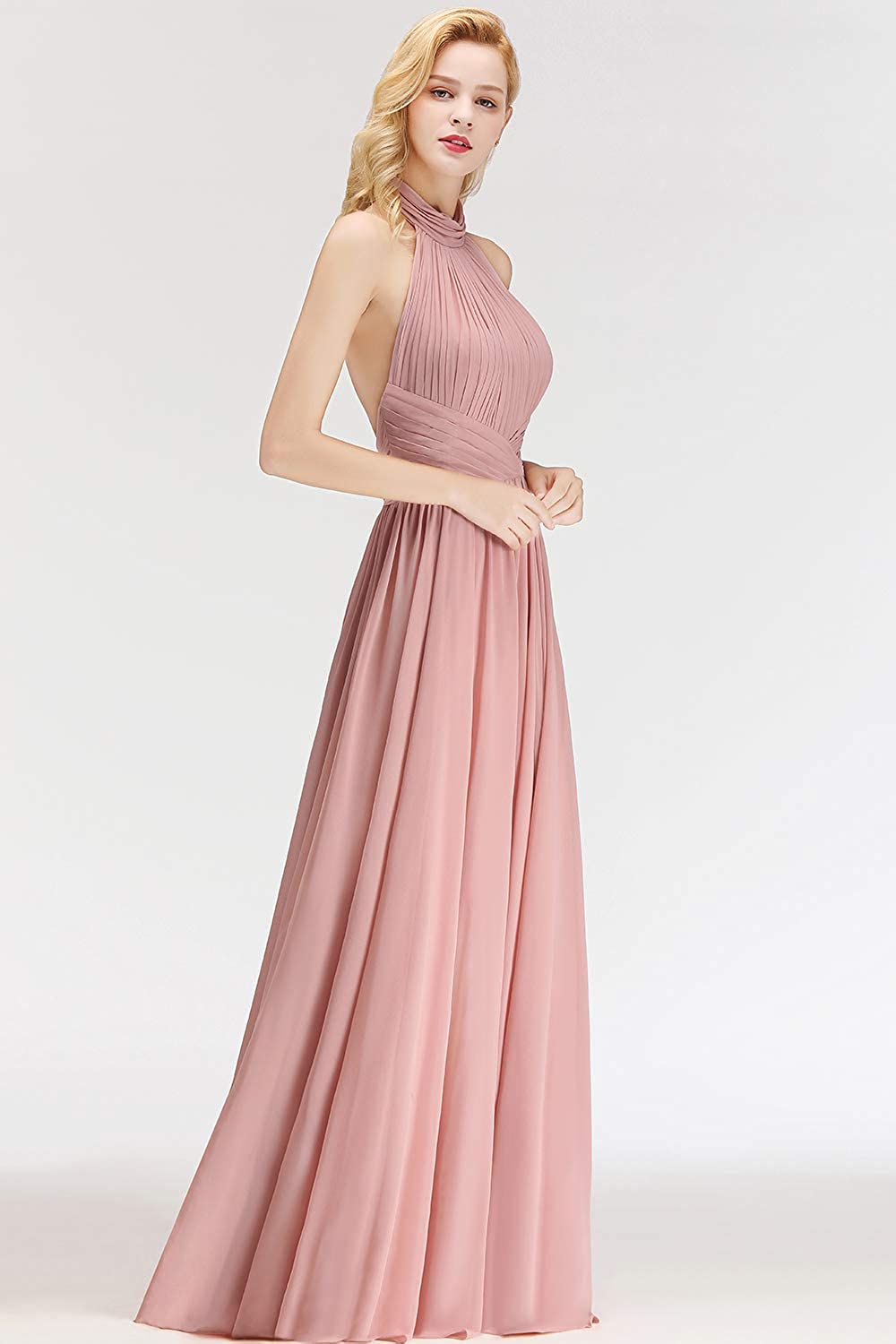 MisShow Womens Vintage Halter Backless Wedding Bridesmaid Evening Long Dress