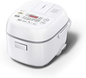 Toshiba Digital Programmable Rice Cooker, Steamer & Warmer, 3 Cups Uncooked Rice with Fuzzy Logic and One-Touch Cooking, 24 Hour Delay Timer and Auto Keep Warm Feature, White