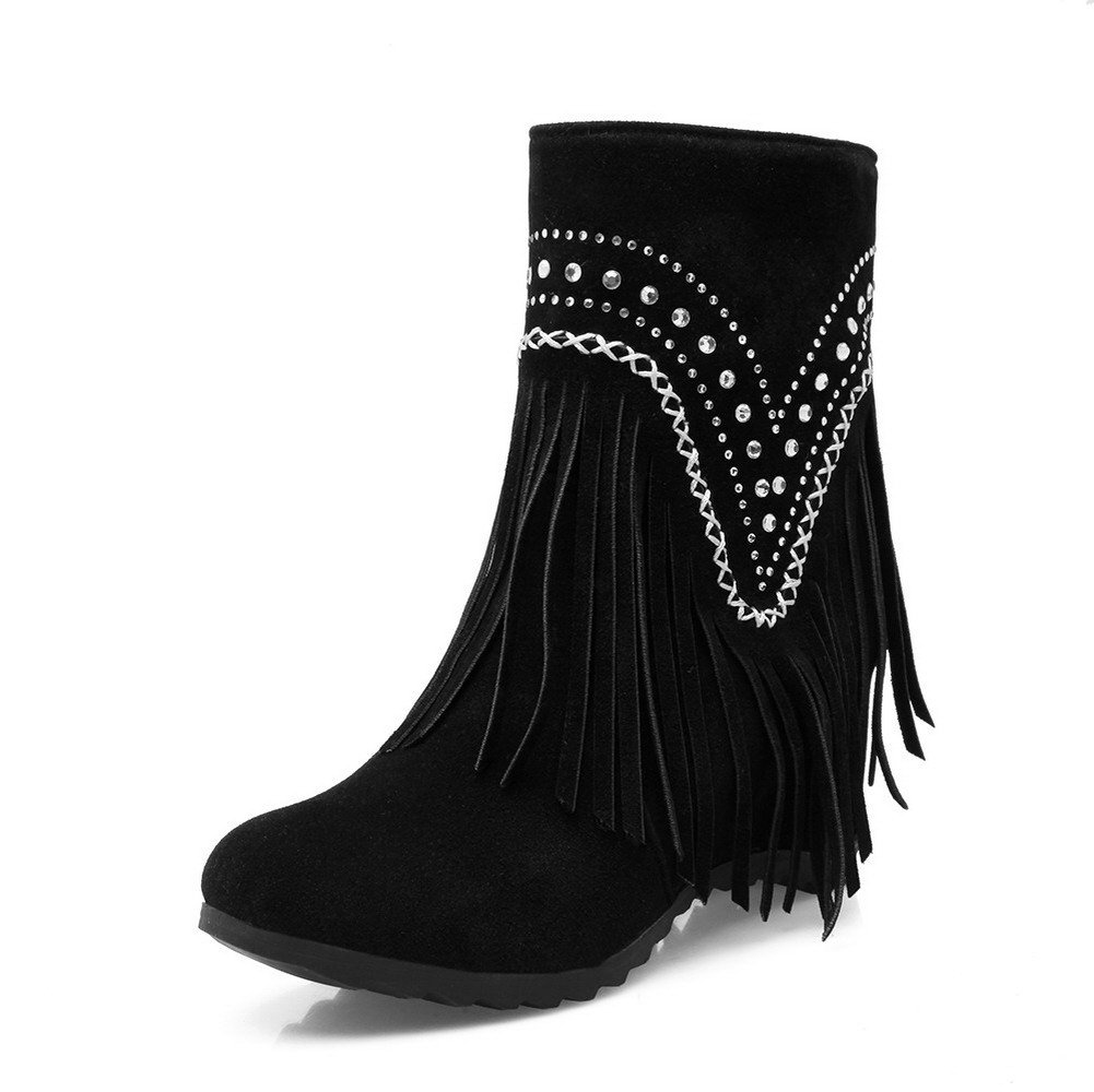 VogueZone009 Womens Closed Round Toe High-Heels Cow Imitated Suede Solid Boots, Black-Glass Diamond, 34