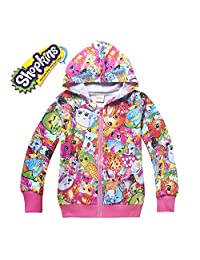 Shopkins Long Sleeve Front Zip Hoodie Jacket Coat