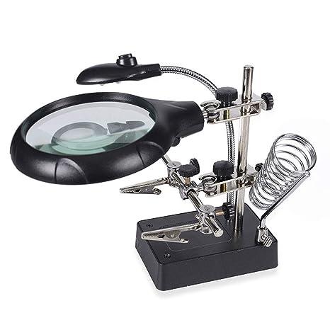 Lupa Herramienta de Aumento Multifuncional 5X,8X10X Soldadura Escritorio con 5 LED Pinzas de Cocodrilo