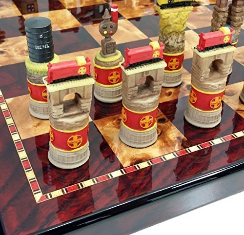 Santa Fe TRAINS Steam vs Diesel Train Engine Chess Set W/ 18` High Gloss Cherry & Burlwood Color Boardの商品画像