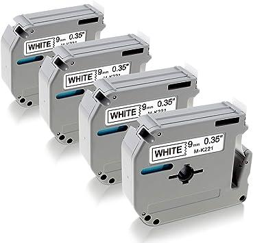 6x Schriftband für Brother M-K221 MK221 MK-221 9mm P-Touch PT-65 75 80 85 90 M95