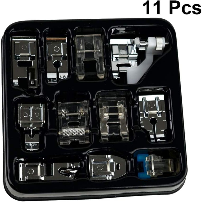 HEALLILY 11 Piezas de Prensatelas para Máquina de Coser Set Cremallera Invisible Prensatelas Puntada Recta Snap on Foot Máquina de Coser Accesorios para El Hogar