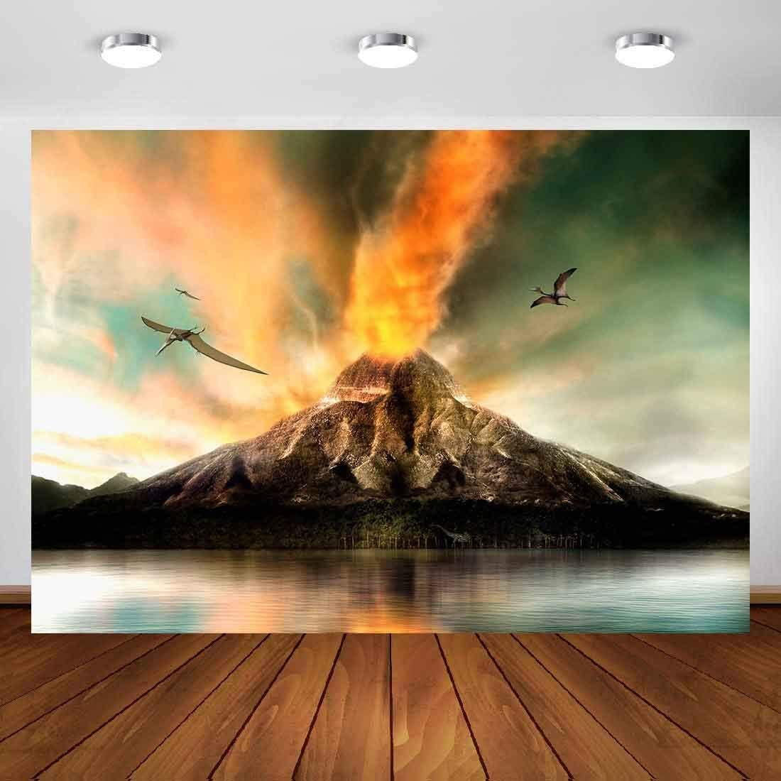SZZWY 7x5ft Volcano Backdrop Volcano Eruption Nature Photography Backdrop Photo Studio Background Props LYP079