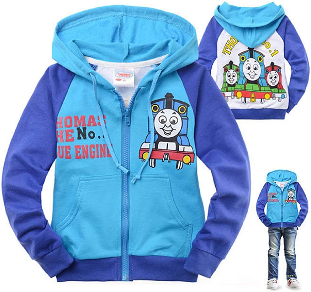 Independence Life Toddler Boys Thomas Train Zipper Hoodie Kids Cartoon Sweatshirt
