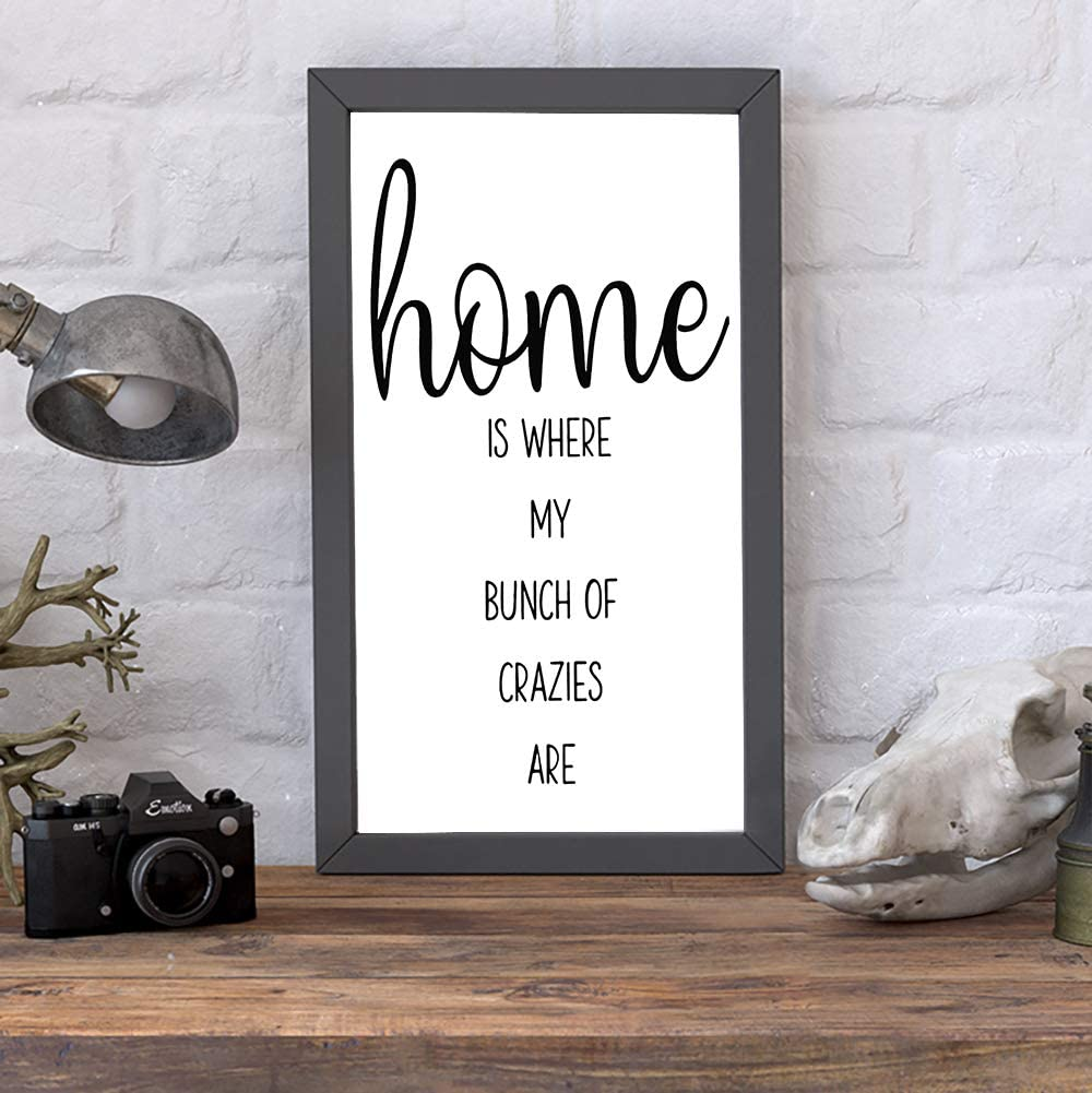 None Brand Home is Where My Bunch of Crazies are Wood Sign, Decorative Home Wall Art, Framed Sign for Home Wedding Party Farmhouse, Personalized Housewarming Gift, 12x22