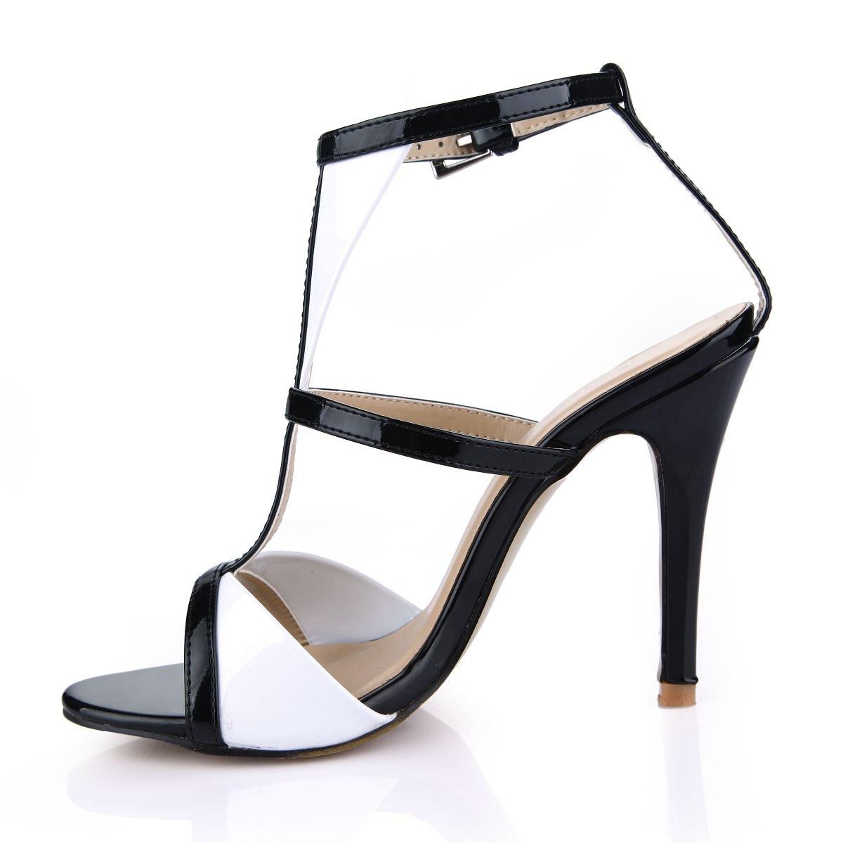 Sandalen weiblichen neue Sommer Produkte jährliche Konferenz und großen Veranstaltungsräume Fisch tipp Frauen Schuhe mit großen und schwarzen T-Code der die high-heel Schuhe schwarz + Weiß 616503